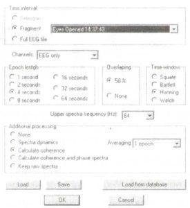 Окно параметров для спектрального анализа