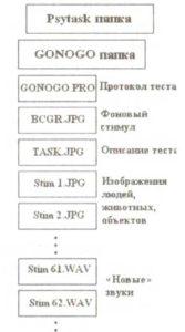 Размещение файлов протокола двухстимульного GO/NOGO тестового задания