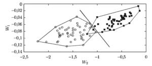 Двумерное пространство (x1, x2) с двумя классами объектов w1 и w2
