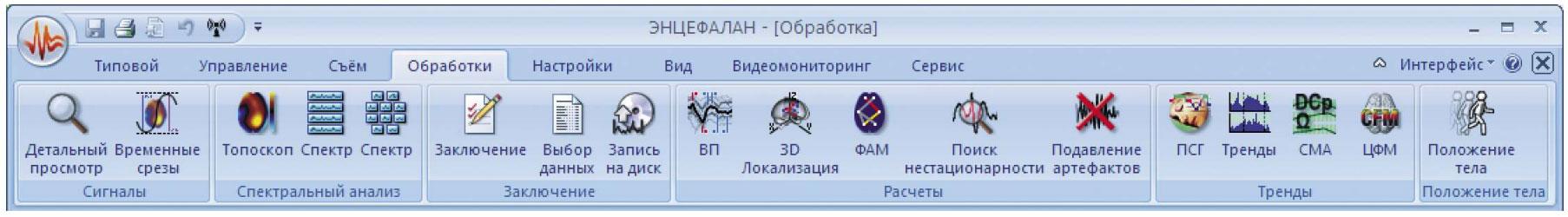 Интерфейсная лента «Обработки» демонстрирует широкие возможности анализа данных как основным ПМО «Энцефалан-ЭЭГР», так и дополнительно поставляемым