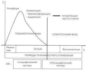 Соотношение периодов течения острого отравления и состояния механизмов генерации биоэлектрической активности головного мозга